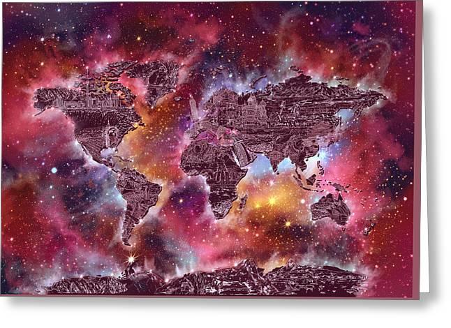 World Map Galaxy 3 Greeting Card