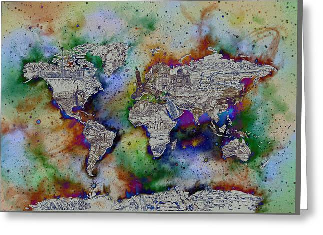 World Map Galaxy 4 Greeting Card
