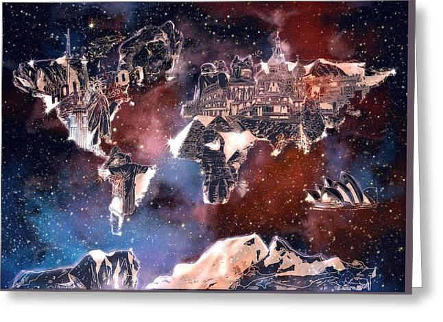 World Map Galaxy 6 Greeting Card