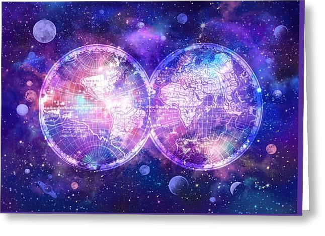 World Map Galaxy 7 Greeting Card