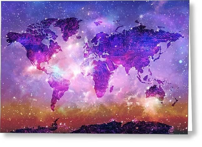 World Map Galaxy 8 Greeting Card
