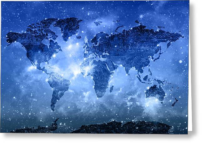 World Map Galaxy 9 Greeting Card