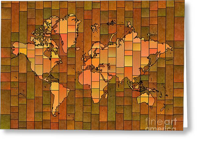 World Map Glasa Brown Orange Green Greeting Card by Eleven Corners