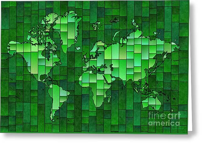 World Map Glasa Green Greeting Card by Eleven Corners
