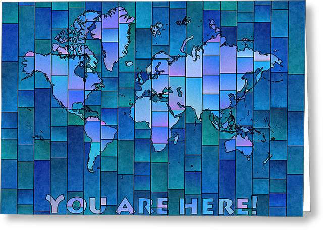 World Map Glasa You Are Here In Blue Greeting Card by Eleven Corners