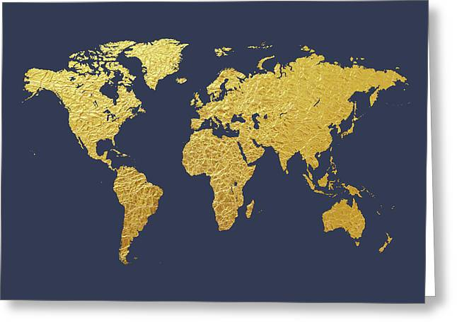 World Map Gold Foil Greeting Card