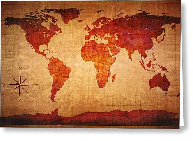 World Map Grunge Style Greeting Card