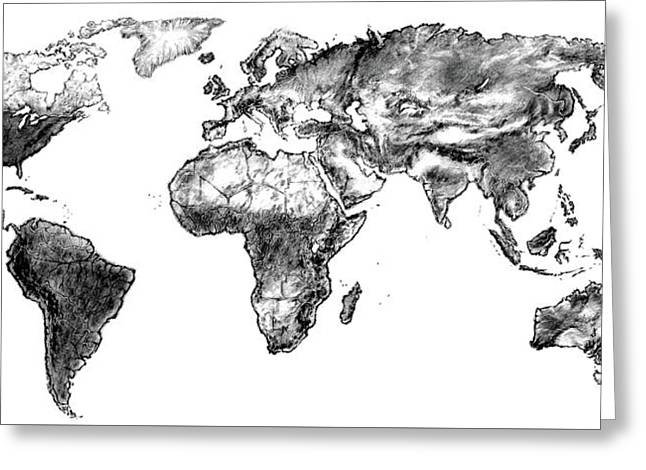 Greeting Card featuring the drawing World Map In Graphite by Heidi Kriel