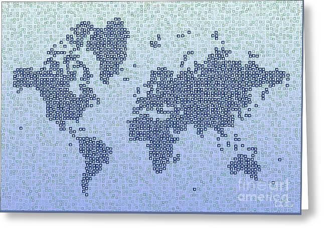 World Map Kotak In Blue Greeting Card