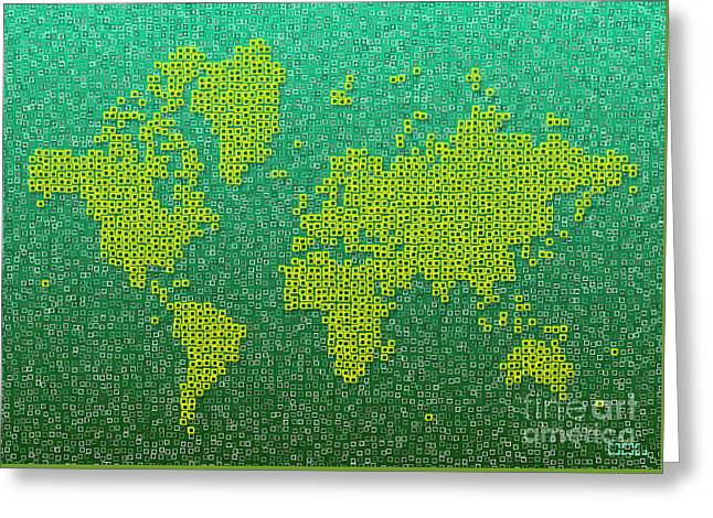World Map Kotak In Green And Yellow Greeting Card by Eleven Corners