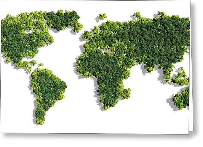 World Map Made Of Green Trees Greeting Card by Johan Swanepoel