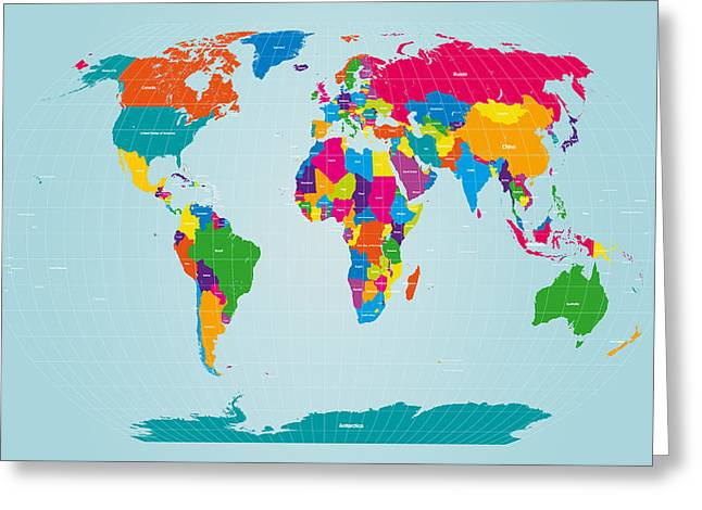 Mapping Greeting Cards - World Map  Greeting Card by Michael Tompsett