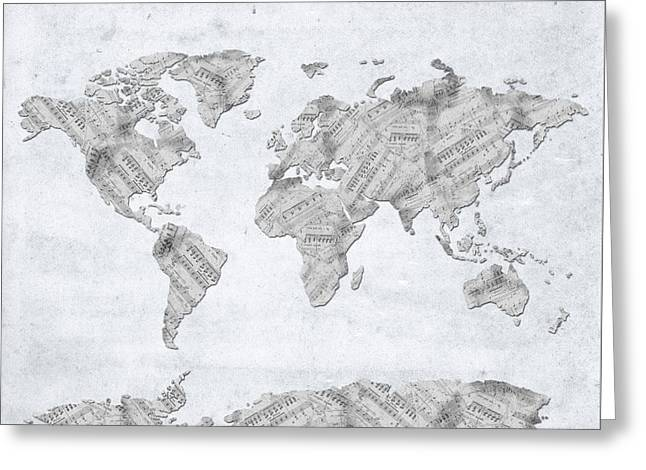 World Map Music 10 Greeting Card