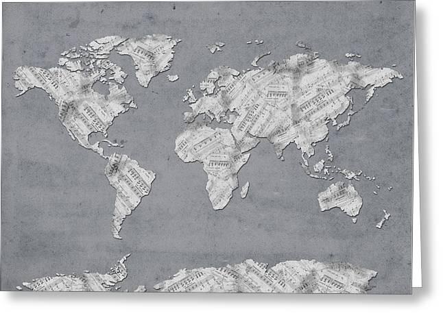 Greeting Card featuring the digital art World Map Music 11 by Bekim Art