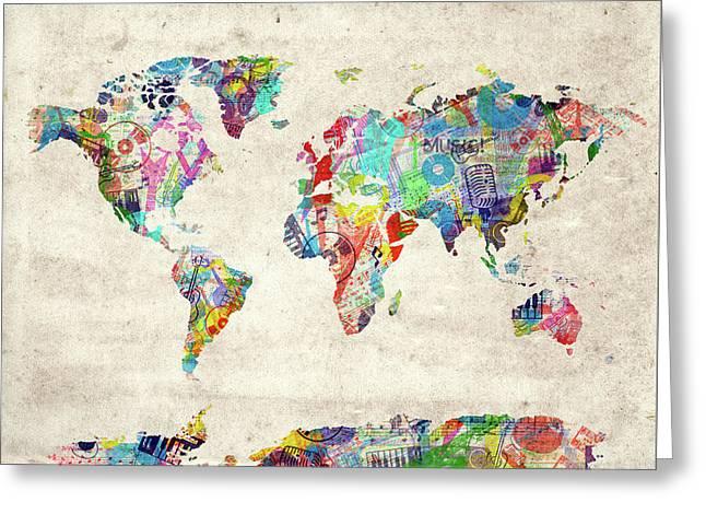 Greeting Card featuring the digital art World Map Music 12 by Bekim Art