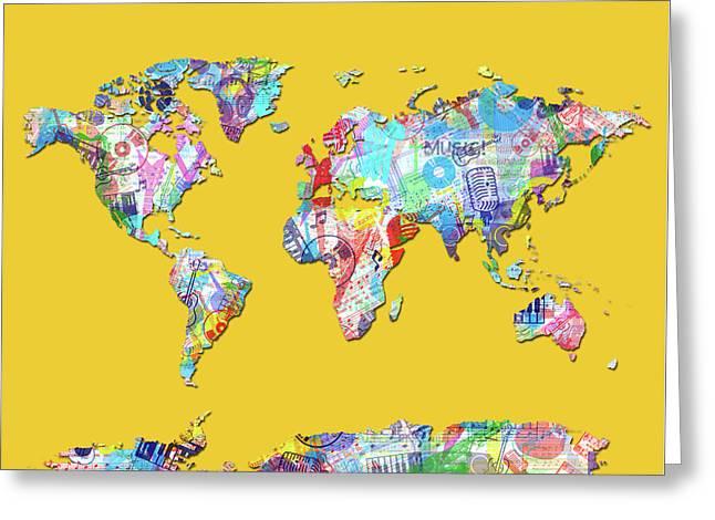 Greeting Card featuring the digital art World Map Music 13 by Bekim Art