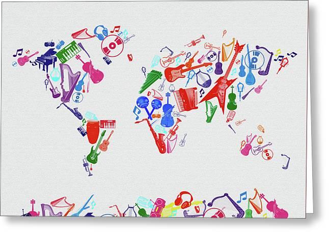 Greeting Card featuring the digital art World Map Music 3 by Bekim Art