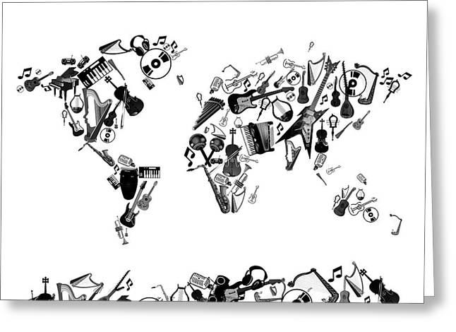 Greeting Card featuring the digital art World Map Music 7 by Bekim Art