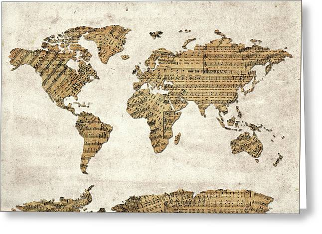 Greeting Card featuring the digital art World Map Music 9 by Bekim Art