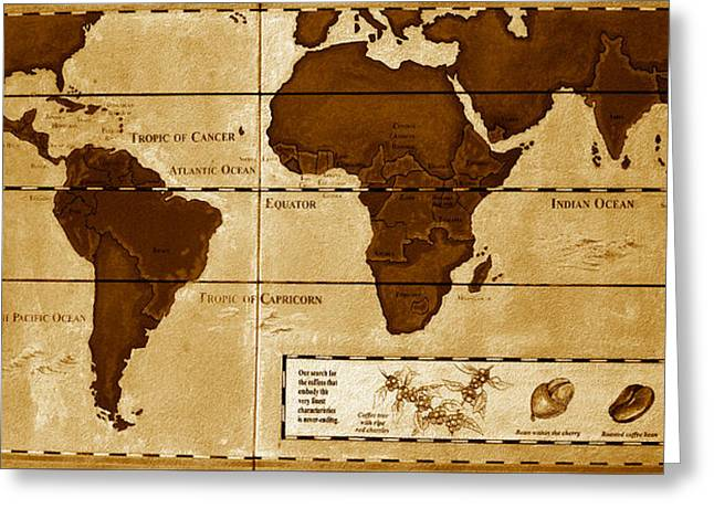 World Map Of Coffee Greeting Card