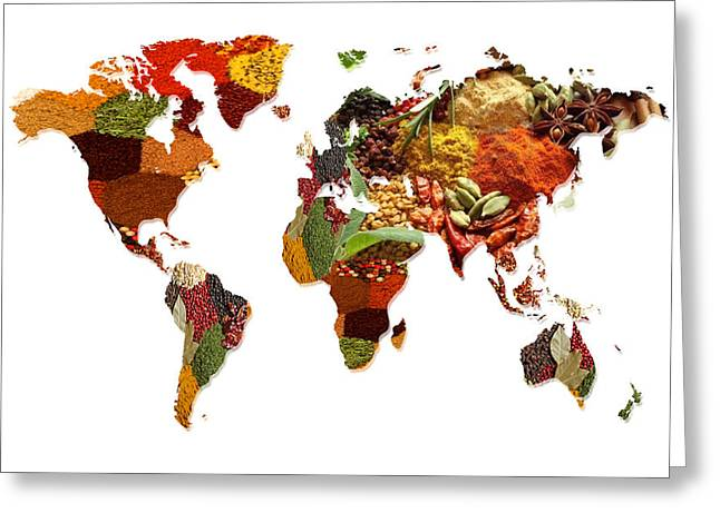 World Map Of Spices And Herbs  Greeting Card by Art Spectrum