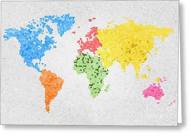 World Map On Stained Glass Greeting Card by Setsiri Silapasuwanchai