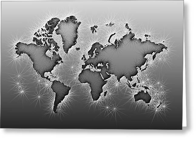 World Map Opala In Black And White Greeting Card by Eleven Corners