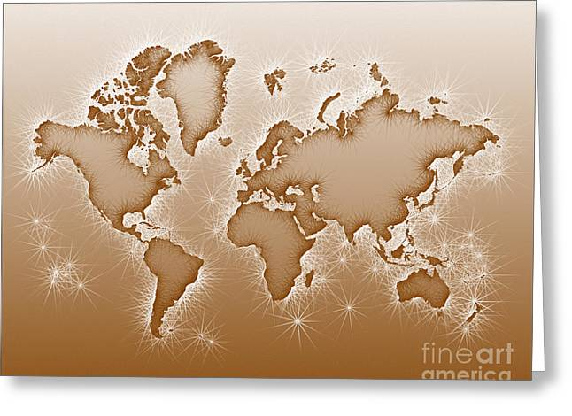 World Map Opala In Brown And White Greeting Card by Eleven Corners