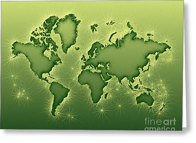 World Map Opala In Green And Yellow Greeting Card by Eleven Corners
