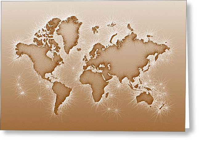 World Map Opala Square In Brown And White Greeting Card