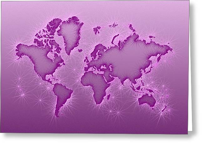 World Map Opala Square In Purple And Pink Greeting Card