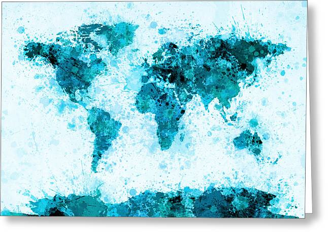 World Map Paint Splashes Blue Greeting Card by Michael Tompsett