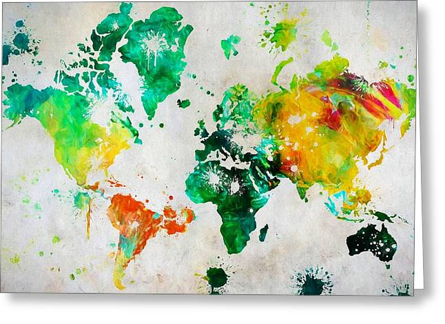 World Map Paint Splatter Greeting Card by Dan Sproul