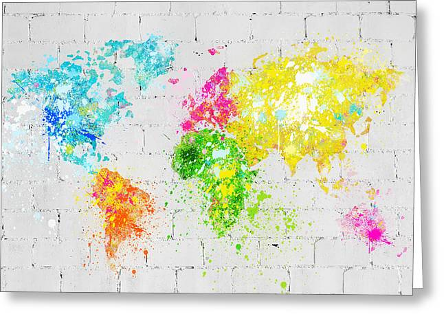 Saturated Greeting Cards - World Map Painting On Brick Wall Greeting Card by Setsiri Silapasuwanchai