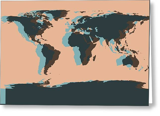 World Map Pop Art Greeting Card by Dan Sproul