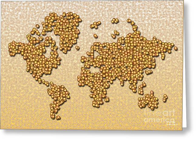 World Map Rolamento In Yellow And Brown Greeting Card by Eleven Corners