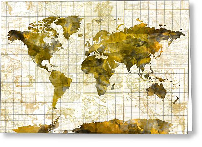 World Map Sepia Vintage Greeting Card