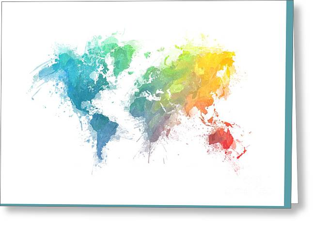 World Map Splash 1 Greeting Card by Justyna JBJart