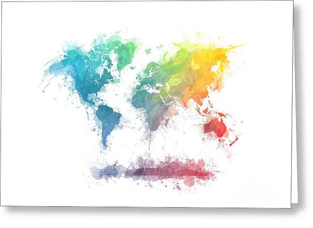 World Map Splash 2 Greeting Card by Justyna JBJart