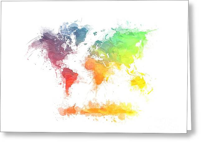 World Map Splash  4 Greeting Card by Justyna JBJart