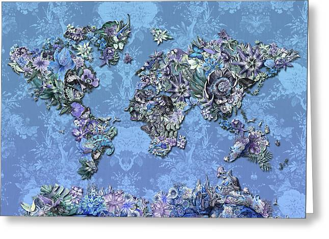 World Map Tropical Leaves 5 Greeting Card