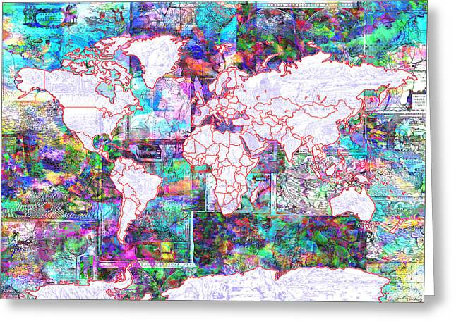 World Map Vintage Color Greeting Card