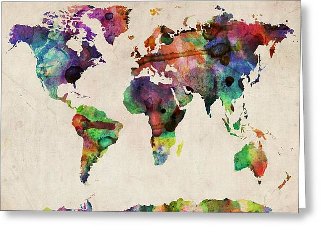 World Map Watercolor 16 X 20 Greeting Card by Michael Tompsett