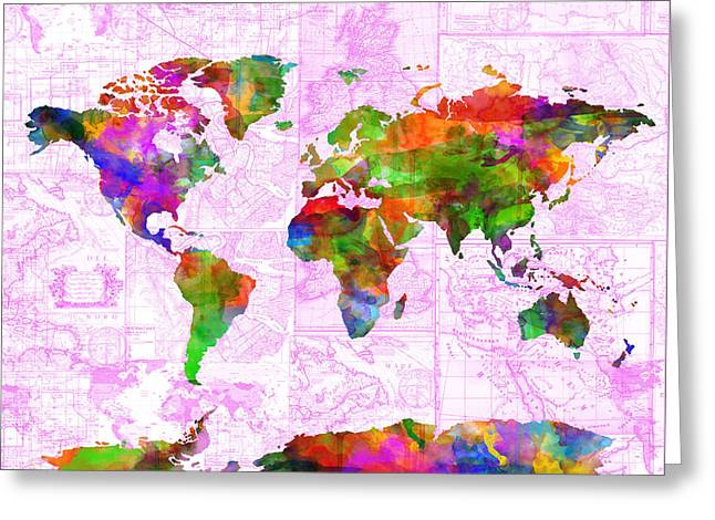 World Map Watercolor Vintage Greeting Card