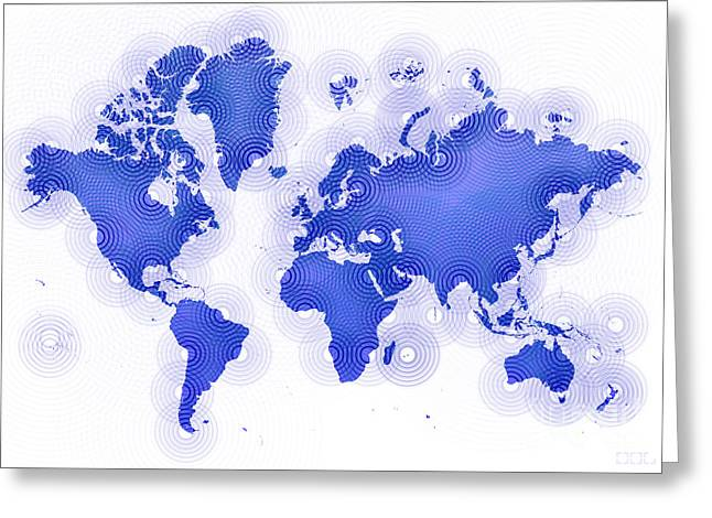 World Map Zona In Blue And White Greeting Card by Eleven Corners