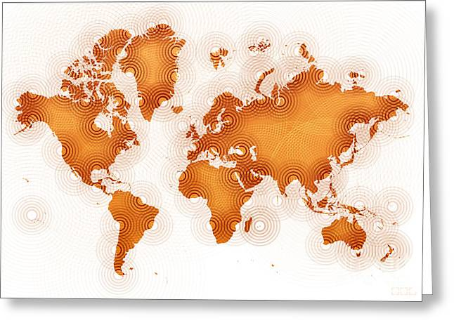 World Map Zona In Orange And White Greeting Card