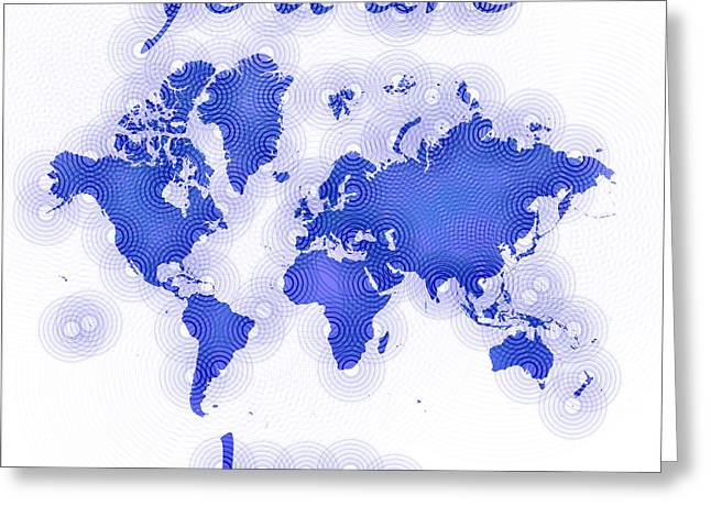 World Map Zona You Are Here In Blue And White Greeting Card