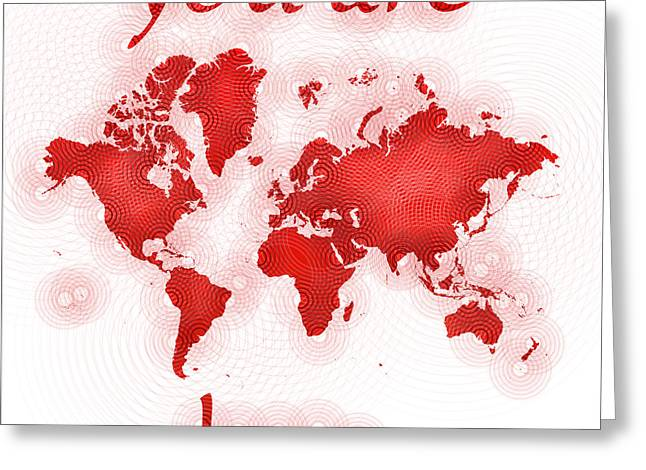 World Map Zona You Are Here In Red And White Greeting Card by Eleven Corners