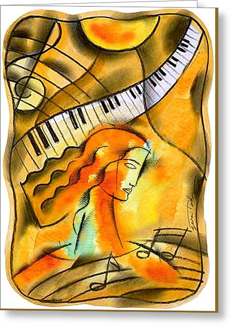World Of Music Greeting Card by Leon Zernitsky
