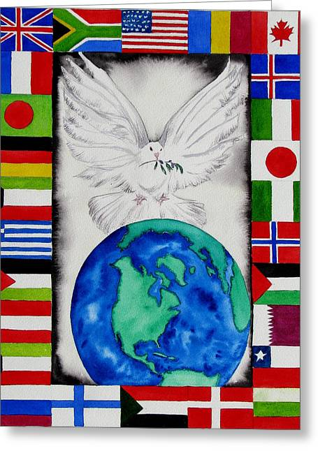 World Peace Greeting Card by Maria Barry